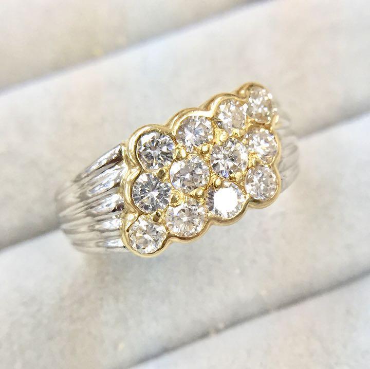 【鑑別書付】1ct SI-VS相当 ダイヤモンド K18 イエローゴールド Pt90 デザイン リング 指輪 4月誕生石