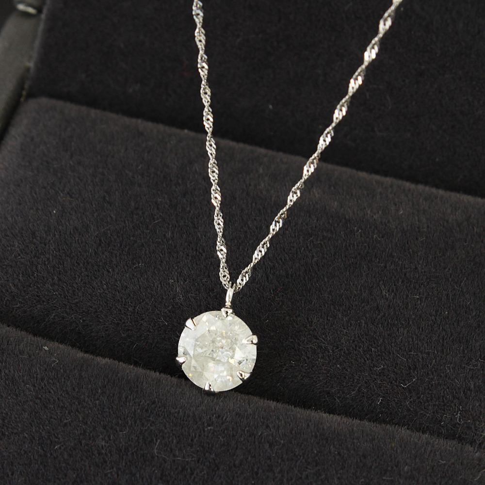 【鑑定書付】 1ct Excellent ダイヤモンド Pt1000 プラチナ ペンダント ネックレス 4月誕生石 //