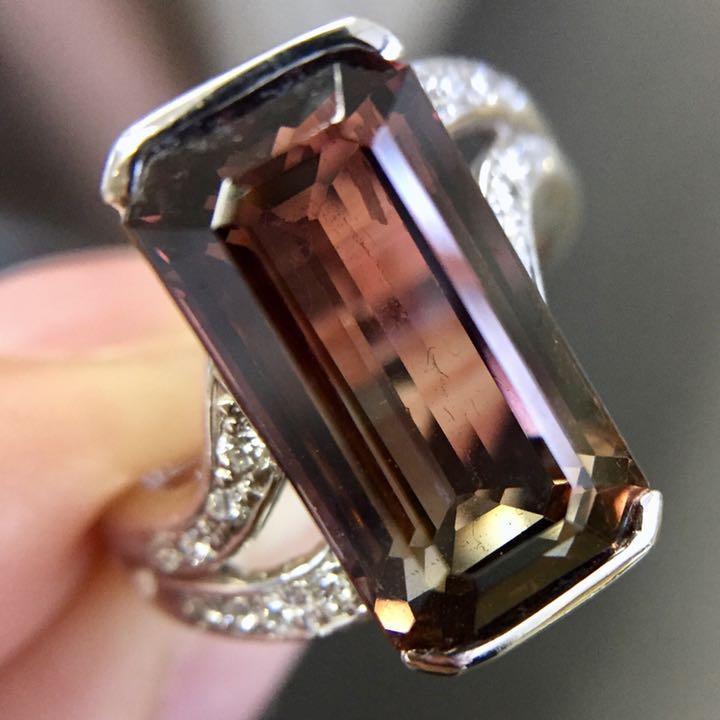 【鑑別書付 】8.4ct バイカラートルマリン Pt900 プラチナ ダイヤモンド リング 指輪 【コンビニ受取対応商品】