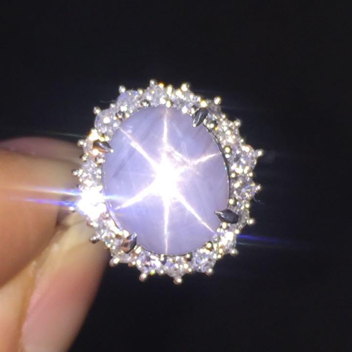 【鑑別書付】8.4ct 非加熱 スターサファイア SI相当 ダイヤモンド Pt900 プラチナ リング 指輪 9月誕生石// 【コンビニ受取対応商品】