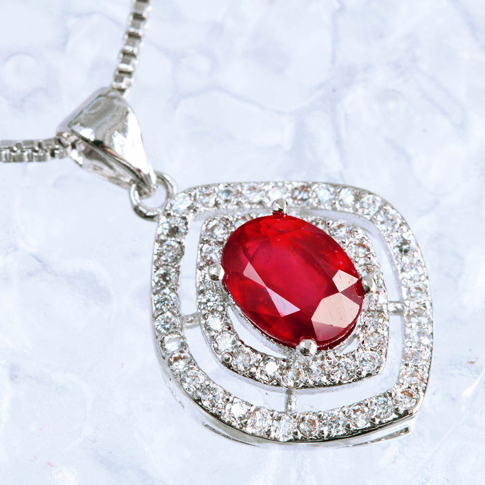 Four seasons jewellery rakuten global market 18 ct natural stone 18 ct natural stone large ruby necklaces pendants k18 white gold k18wg july birthstones mozeypictures Image collections