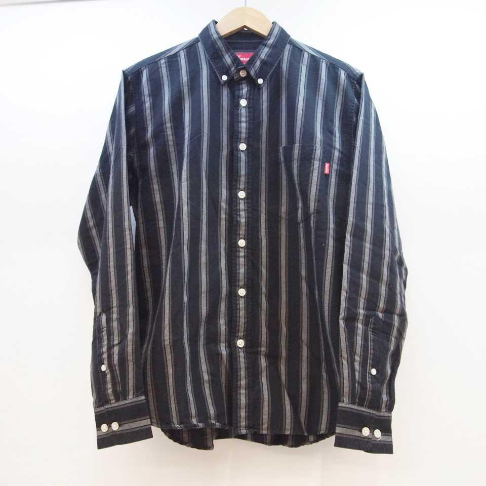 Supreme (シュプリーム) Stripe Twill Shirt ストライプ ツイルシャツ サイズ:S カラー:ブラック【中古】【126 ストリート】【鈴鹿 併売品】【126-200429-04OS】