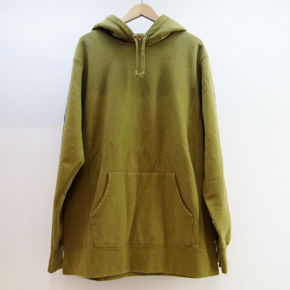 Supreme (シュプリーム) Sleeve Arc Hooded Sweatshirt サイズ:XL カラー:カーキ【中古】【ストリート】【鈴鹿 併売品】【126-180611-02OS】