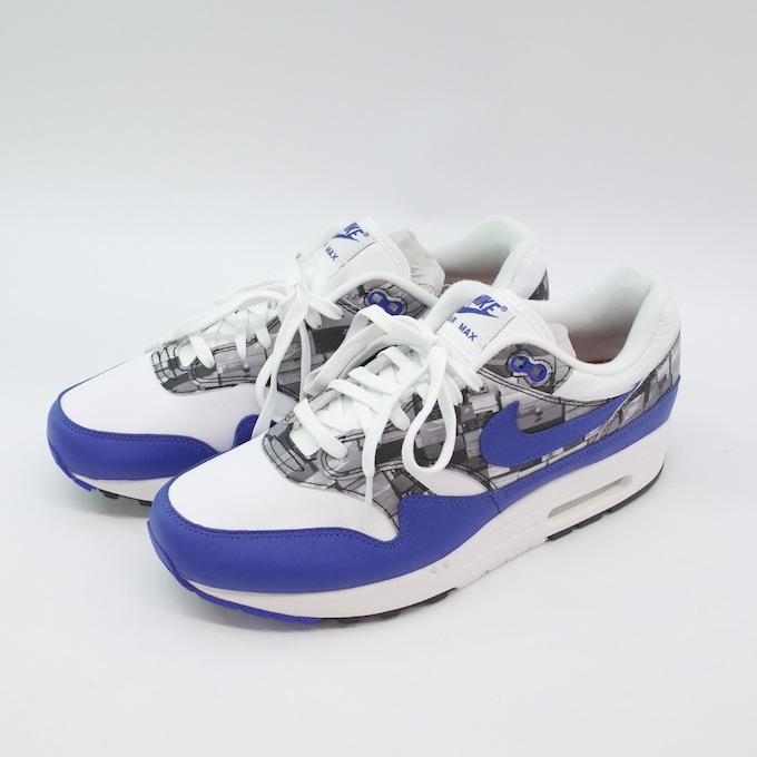 NIKE ナイキ AIR MAX 1 PRINT atmos WE LOVE NIKE PACK AQ0927-100 26.5cm WHITE/GAME ROYAL/NEUTRAL GREY【中古】【スニーカー】【四日市 併売品】【139-180809-05mH】