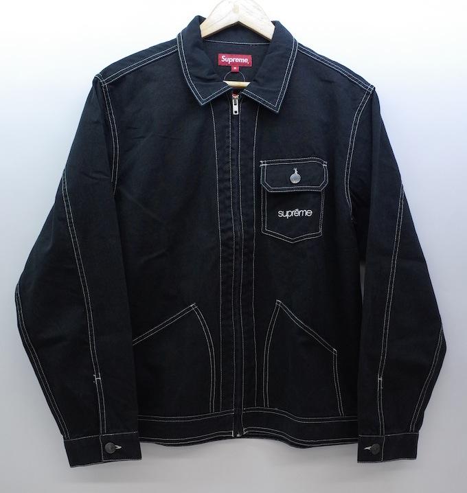SUPREME 18SS Contrast Stitch Work Jacket シュプリーム ジップアップ ワーク ジャケット ブラック サイズ:M【中古】【ストリート】【四日市 併売品】【126-180731-02esH】