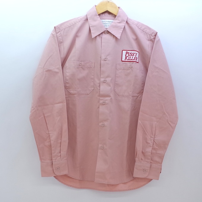 WACKO MARIA 17AW WORK SHIRT PUSSY KILLER ワコマリア ワークシャツ THE GUILTY PARTIES 長袖  ピンク サイズ:S【中古】【ルード】【四日市 併売品】【127-181113-01eH】