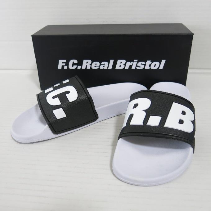 F.C.Real Bristol SHOWER SLIDE F.C.R.B. エフシーレアルブリストル シャワー スライド ホワイト/ブラック サイズ:27cm【中古】【その他靴】【四日市 併売品】【140-180626-14USH】