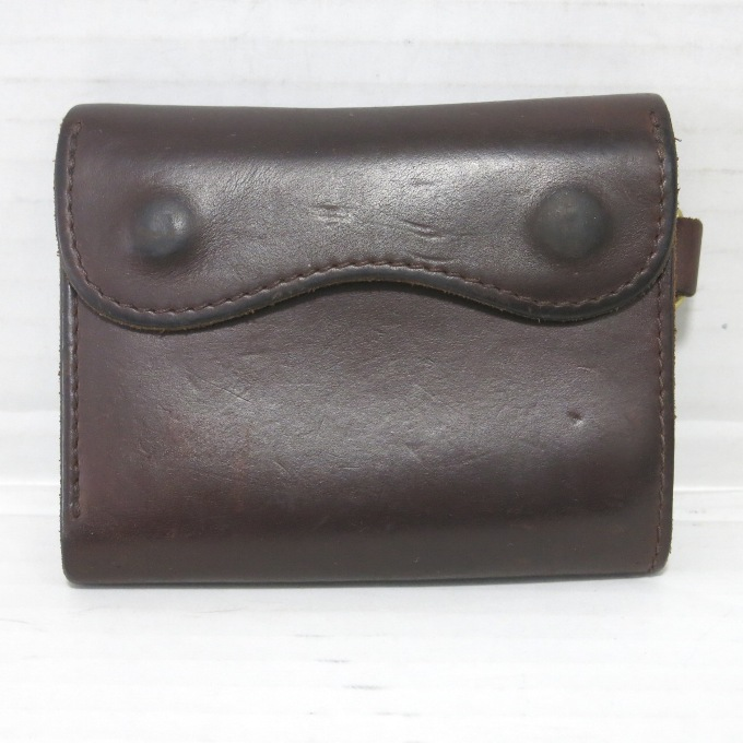 hobo HORWEEN Oiled Leather Flap Wallet ホーボー ホーウィン クロムエクセル ウォレット ブラウン【中古】【財布】【四日市 併売品】【138-180728-04USH】