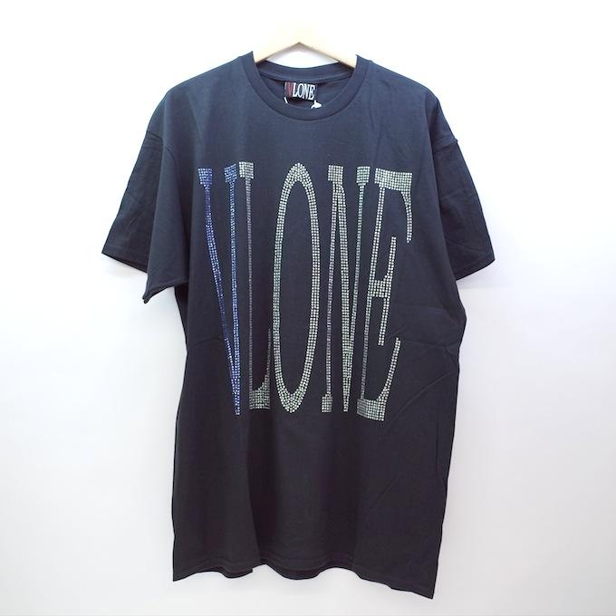 VLONE 18SS rhine stone logo tee ヴィーロン ラインストーン Tシャツ XLサイズ/ブラック/ブルー/ホワイト【中古】【ストリート】【四日市 併売品】【126-181012-02CH】