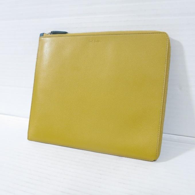 Paul Smith(ポールスミス) iPadケース クラッチバッグ ネイビー/イエロー【中古】【カバン】【四日市 併売品】【137-181014-01USH】