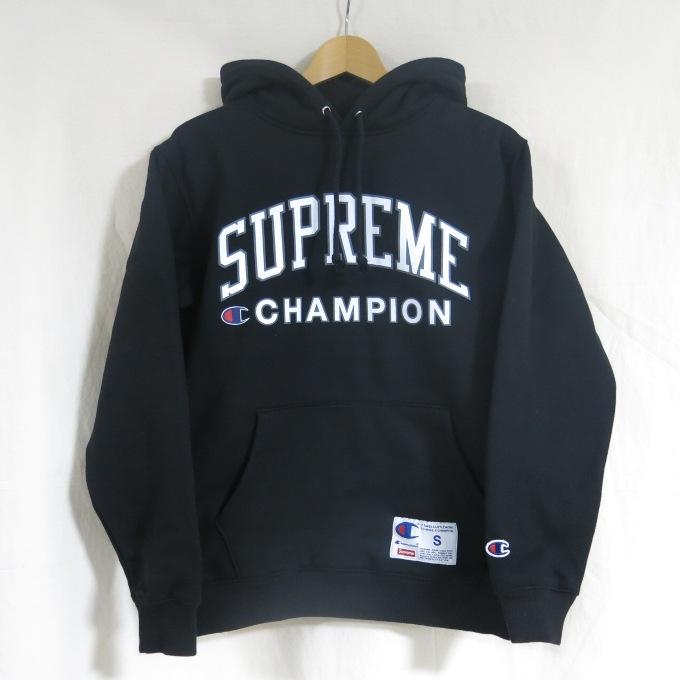 SUPREME×Champion 17SS Hooded Sweatshirt シュプリーム×チャンピオン フーデッド スウェットシャツ ブラック サイズ:S【中古】【ストリート】【四日市 併売品】【126-181015-04USH】