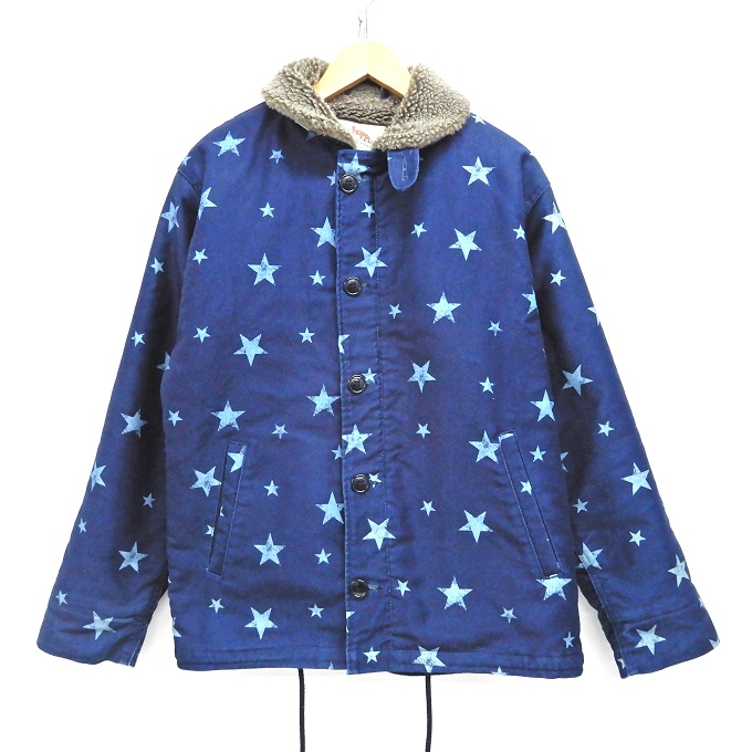 CALEE(キャリー) デッキジャケット 17AW STAR PATTERN N-1 TYPE DECK JACKET スターパターン デッキジャケット 裏ボア ブルー サイズ:M【中古】【127 ルード】【四日市 併売品】【127-200214-07YH】