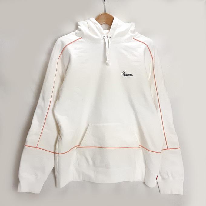 Supreme(シュプリーム) 18SS Piping Hooded Sweat Shirt パイピング プルオーバーパーカー ホワイト サイズ:L【中古】【126 ストリート】【四日市 併売品】【126-200417-07YH】