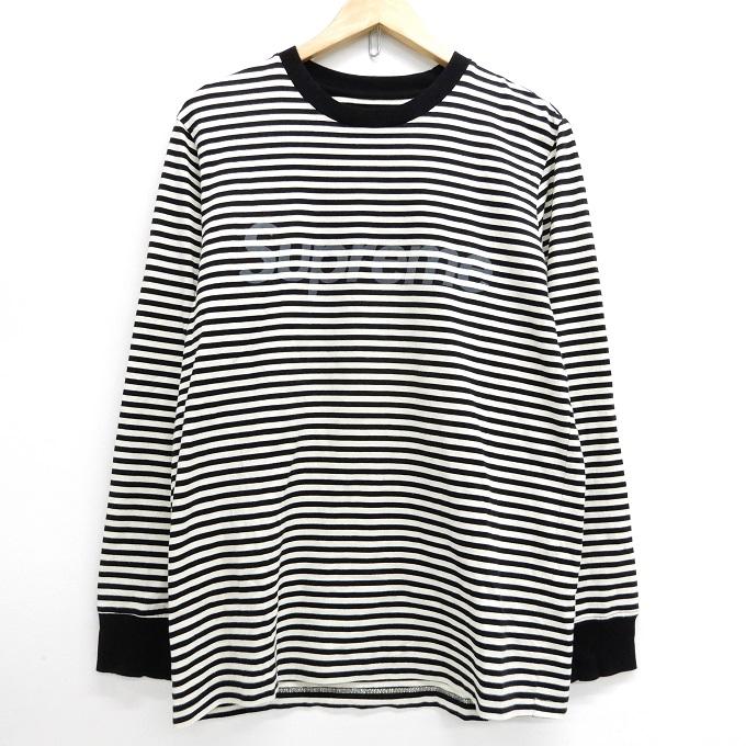 Supreme(シュプリーム) 15AW Striped Logo L/S Top ストライプ ロゴ 長袖 Tシャツ ブラック×ホワイト サイズ:M【中古】【126 ストリート】【四日市 併売品】【126-200525-05YH】