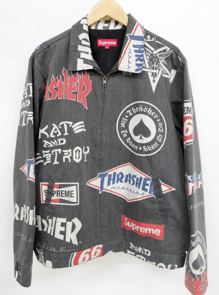 Supreme(シュプリーム)×Thrasher(スラッシャー) マルチロゴジップワークジャケット サイズ:XL カラー:グレー【中古】【126 ストリート】【鈴鹿 併売品】【126-190109-01NS】