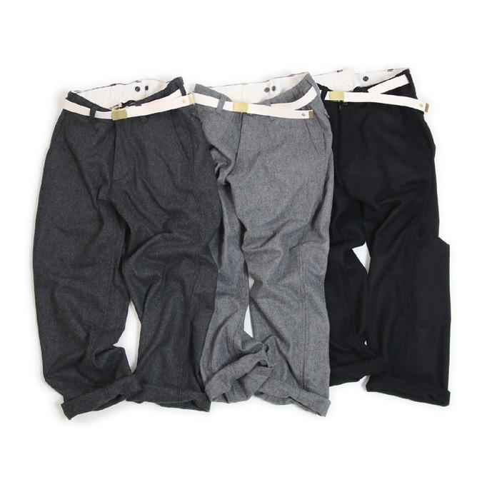 【ユニセックス-18'A/W新作】MASTER&CO (マスターアンドコー)MC946[LONG WIDE WOOL PANTS]ベルト付ウールワイドパンツ(2色)【送料無料】