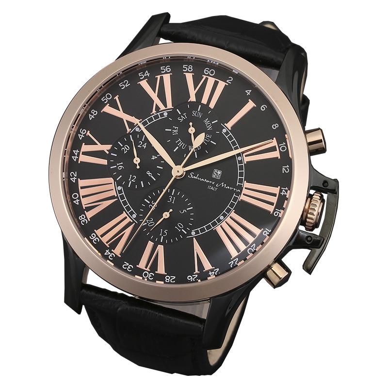 サルバトーレマーラ 腕時計 メンズウォッチ Salvatore Marra マルチファンクション ウォッチ SM14123-PGBK