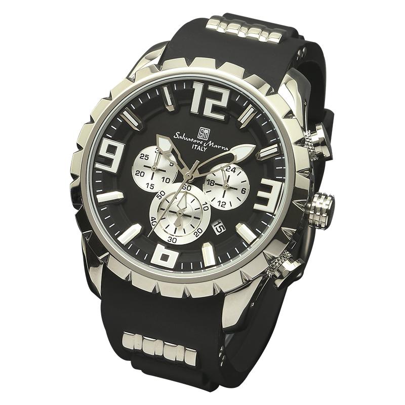 サルバトーレマーラ 腕時計 メンズウォッチ Salvatore Marra ウレタンベルト クロノグラフ ウォッチ SM15107-SSBK
