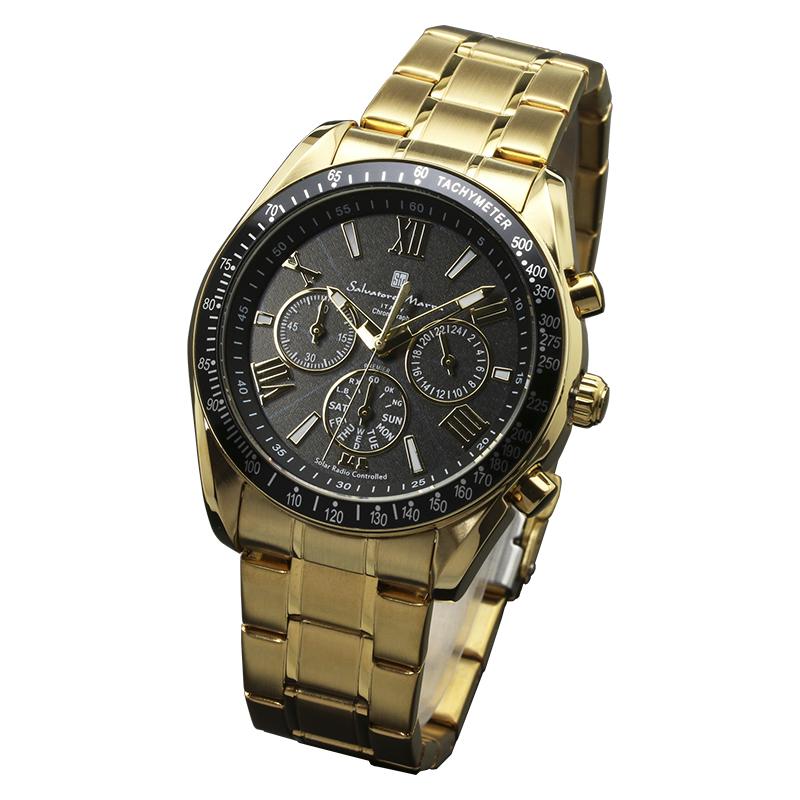 サルバトーレマーラ 腕時計 メンズウォッチ Salvatore Marra 電波ソーラー クロノグラフ ウォッチ SM15116-GDBKGD