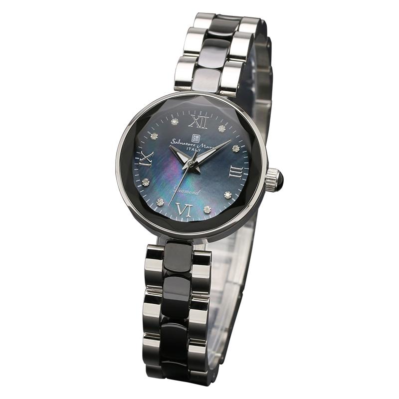 サルバトーレマーラ 腕時計 レディースウォッチ Salvatore Marra 8Pダイヤ 10年電池 セラミック ウォッチ SM17153-SSBKR