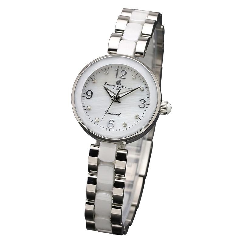 サルバトーレマーラ 腕時計 レディースウォッチ Salvatore Marra 8Pダイヤ 10年電池 セラミック ウォッチ SM17153-SSWHA