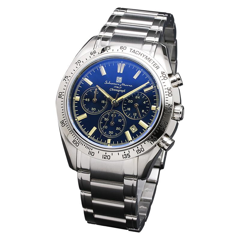 サルバトーレマーラ 腕時計 メンズウォッチ Salvatore Marra カラーガラス クロノグラフ ウォッチ SM18106-SSBLSV