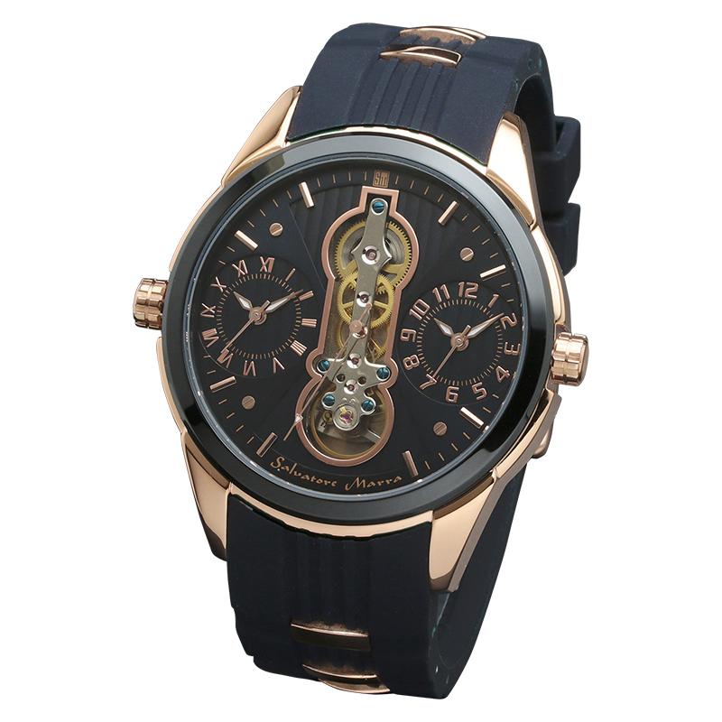 サルバトーレマーラ 腕時計 メンズウォッチ Salvatore Marra デュアルタイム ラバーベルト ウォッチ SM18113-PGBL