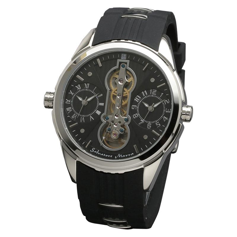 サルバトーレマーラ 腕時計 メンズウォッチ Salvatore Marra デュアルタイム ラバーベルト ウォッチ SM18113-SSBK