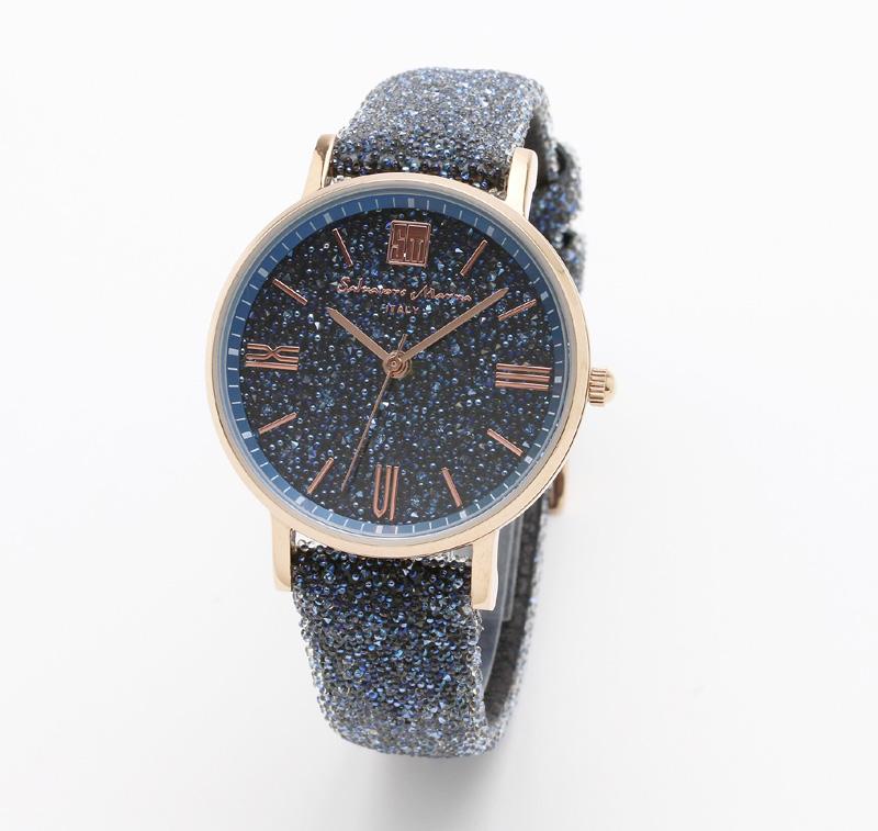 サルバトーレマーラ 腕時計 レディースウォッチ Salvatore Marra 替えベルト付き クリスタル素材 ウォッチ SM18115-PGBL