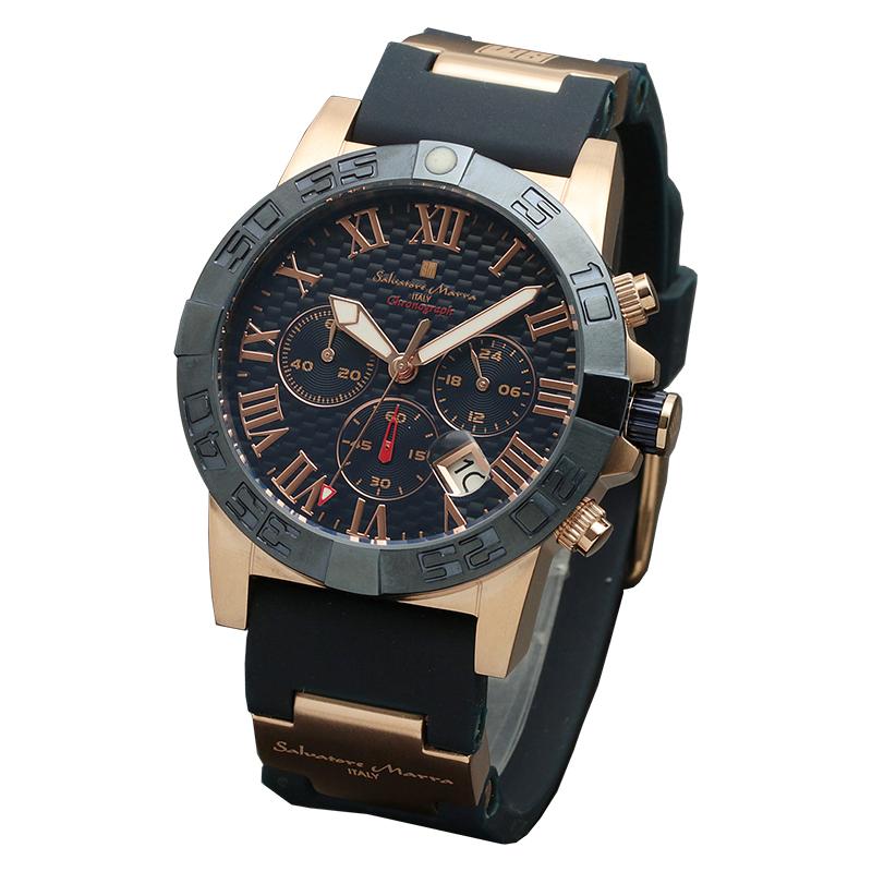 サルバトーレマーラ 腕時計 メンズウォッチ Salvatore Marra クロノグラフ ウレタンベルト ウォッチ SM18118-PGBL