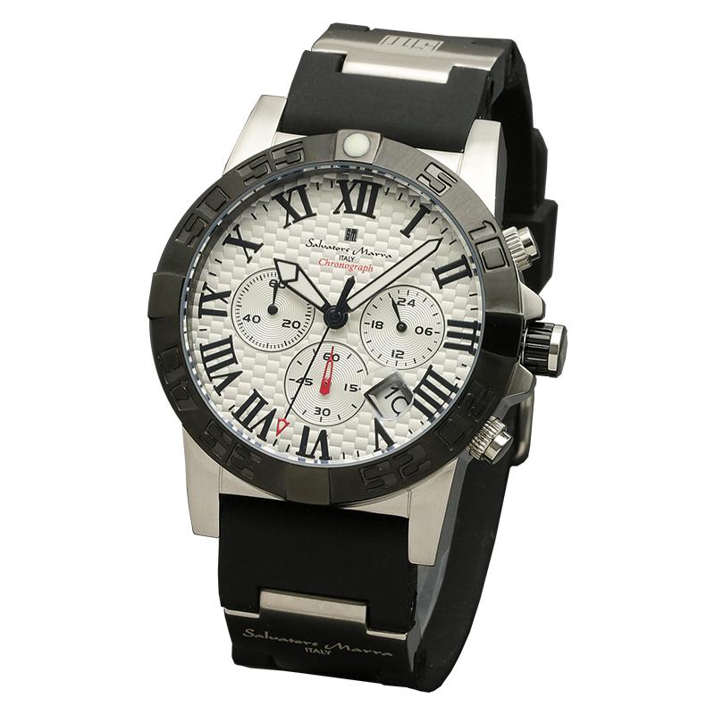 サルバトーレマーラ 腕時計 メンズウォッチ Salvatore Marra クロノグラフ ウレタンベルト ウォッチ SM18118-SSWH