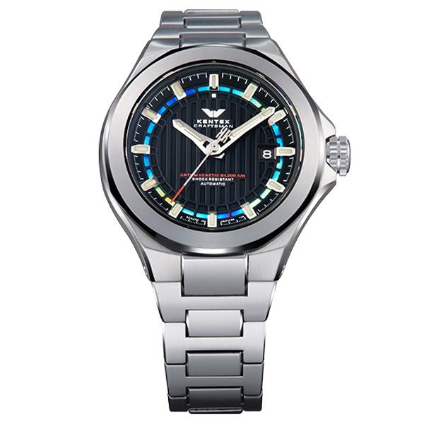 ケンテックス クラフツマンプレステージ ブルー自動巻き オールチタンケース スケルトンバック メンズ腕時計 メンズウォッチ S526X-08
