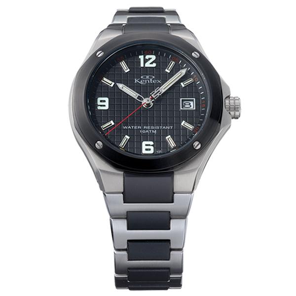 ケンテックス クラフツマン クォーツ 日本製クオーツ 格子型押し メンズ腕時計 メンズウォッチ S526M-02
