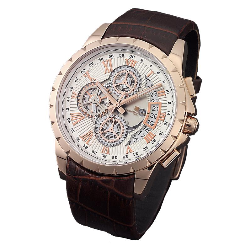 サルバトーレマーラ 腕時計 メンズウォッチ Salvatore Marra 機械式風 クロノグラフ ウォッチ SM13119S-PGWH
