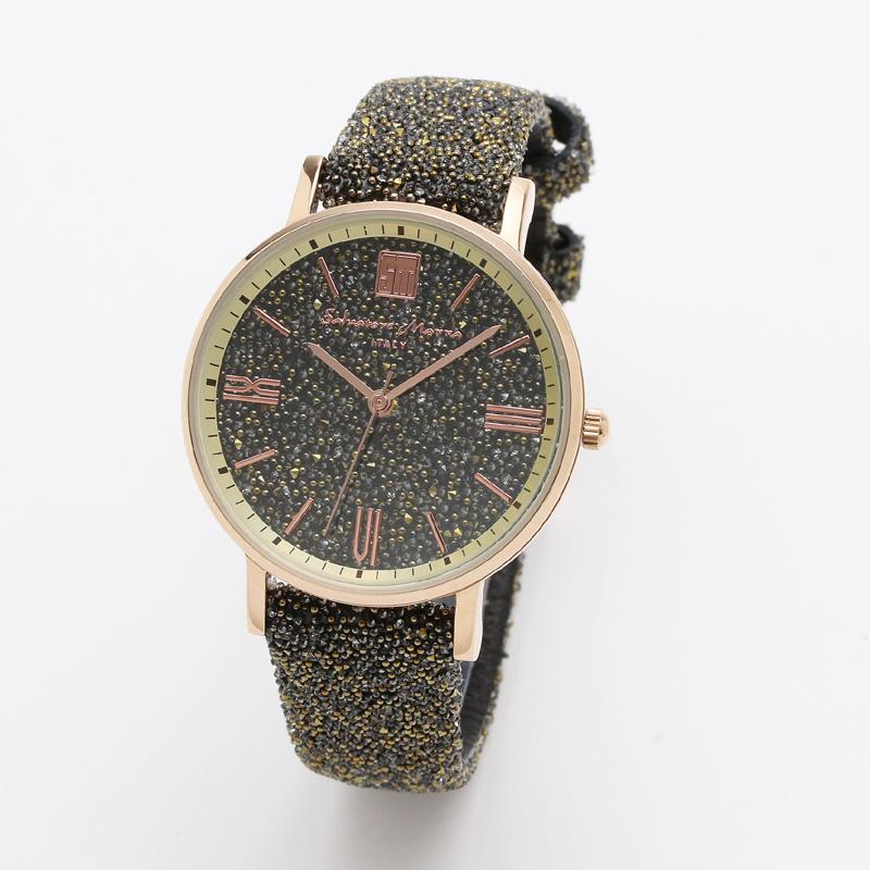 サルバトーレマーラ 腕時計 レディースウォッチ Salvatore Marra 替えベルト付き クリスタル素材 ウォッチ SM18115-PGBR