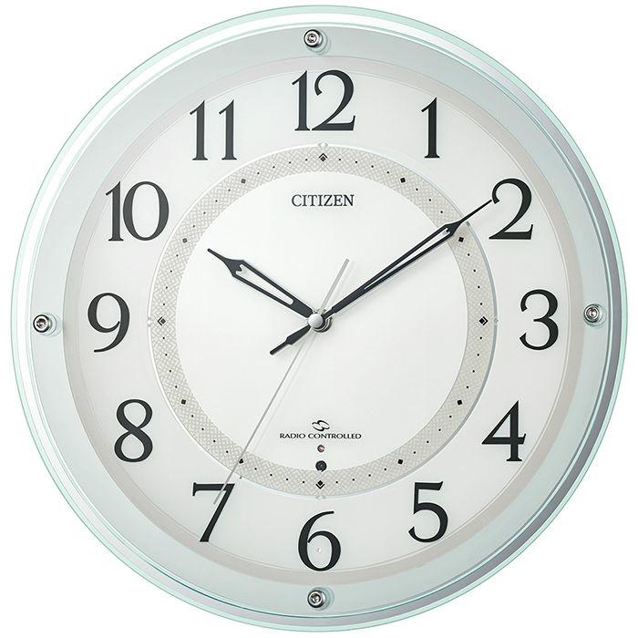 掛け時計 高感度 電波時計 シチズン リズム時計 CITIZEN RHYTHM スリーウェイブ サイレントステップ秒針 広範囲受信 4MY859-005