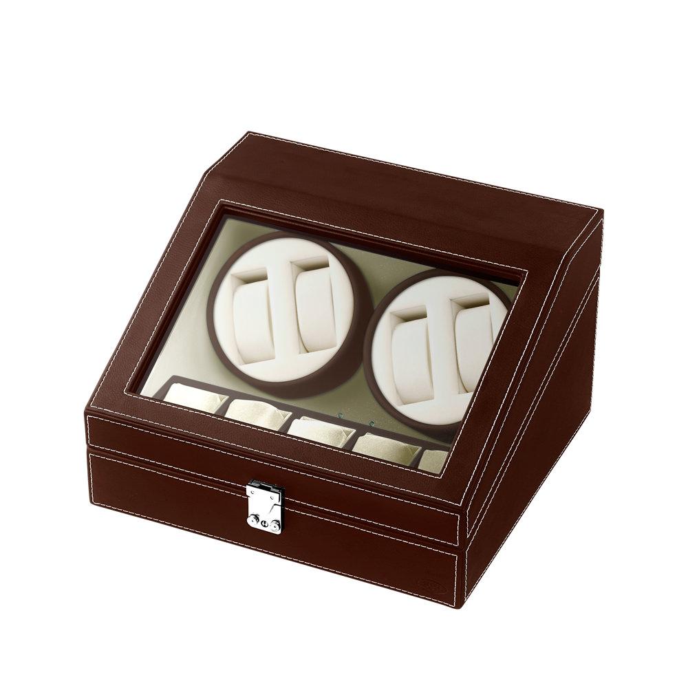 ワインディングマシーン 腕時計用ケース 合皮 4連 SPI エスピーアイ ブラウン SP43014LBR
