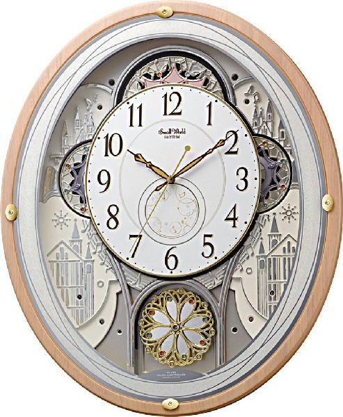 掛け時計 壁掛け時計 からくり 電波時計 シチズン リズム時計 スモールワールドエアル アナログ からくり 30曲 メロディ クリスタル飾り 4MN525RH13 CITIZEN