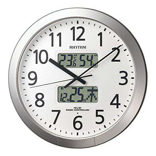 掛け時計 壁掛け時計 温湿度計 電波時計 シチズン リズム時計 カレンダー 温湿度計付 プログラムカレンダー404SR 4FN404SR19 CITIZEN
