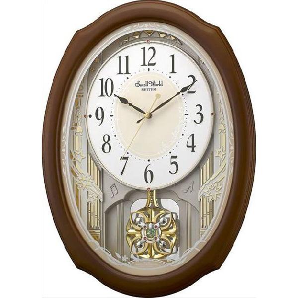 掛け時計 壁掛け時計 電波時計 シチズン リズム時計 木枠 30曲入り アミューズスモールワールドセレブレ 茶色 4MN541RH06 CITIZEN
