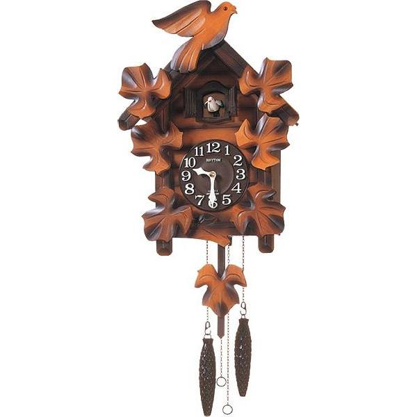 掛け時計 壁掛け時計 カッコー時計 シチズン リズム時計 カッコー時計 カッコーメイソンR 本格的ふいご式 濃茶ボカシ木地仕上 4MJ234RH06 CITIZEN