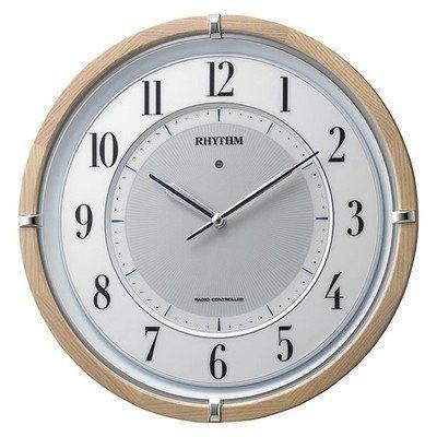 掛け時計 壁掛け時計 ソーラー 電波時計 シチズン リズム時計 ソーラー電源タイプ 木目 サイレントソーラーM848 木枠薄茶半艶仕上 4MY848SR06 CITIZEN