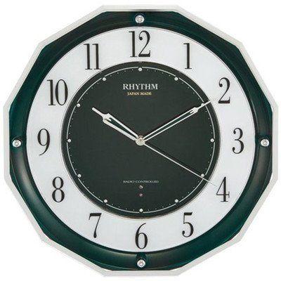 掛け時計 壁掛け時計 電波時計 シチズン リズム時計 日本製 高感度スリーウェイブ M846 緑メタリック 4MY846SR05 CITIZEN