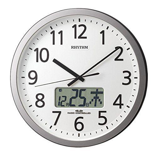 掛け時計 壁掛け時計 電波時計 シチズン リズム時計 プログラムチャイム機能 プログラムカレンダー405SR シルバーメタリック色 4FN405SR19 CITIZEN