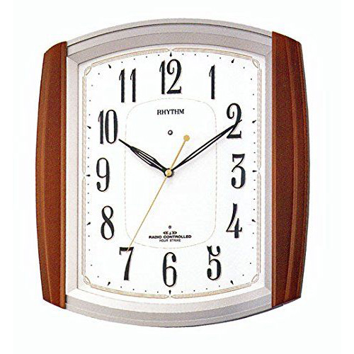掛け時計 壁掛け時計 電波時計 シチズン リズム時計 木枠時報付 ネムリーナM469R 茶色半艶仕上げ 4MN469RH06 CITIZEN