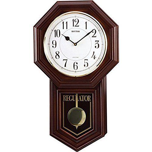 掛け時計 壁掛け時計 振り子時計 シチズン リズム時計 電子音報時 ベングラーR 木枠 茶色半艶仕上げ 4MJA03RH06 CITIZEN