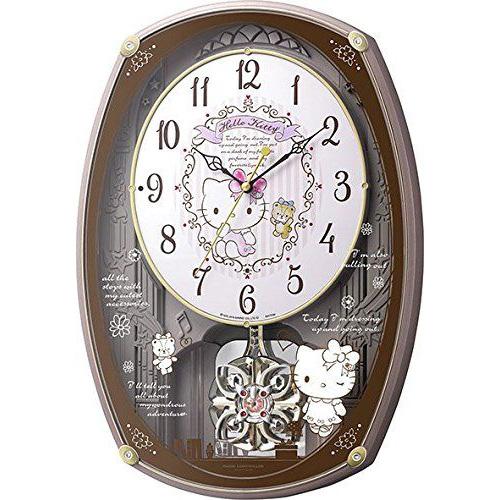 掛け時計 《週末限定タイムセール》 壁掛け時計 からくり時計 当店一番人気 電波時計 シチズン リズム時計 Hello 4MN540MB13 ハローキティ ピンクメタリック色 Kitty CITIZEN 30曲搭載 M540