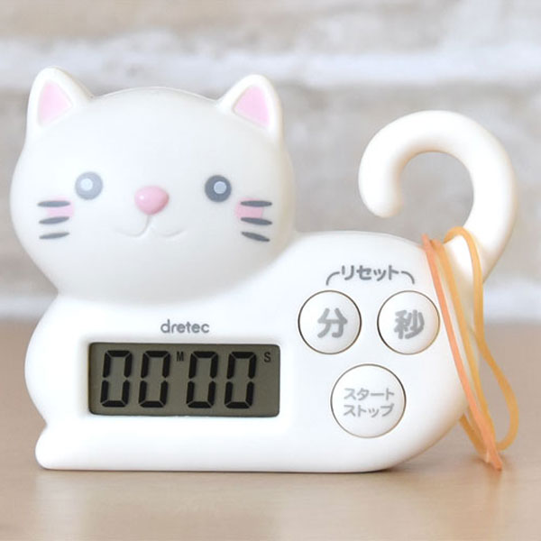 For A Timer White Kitchen Timer Kitchen And The Study Of The Cute Cat T 568wt Dretec ドリテック