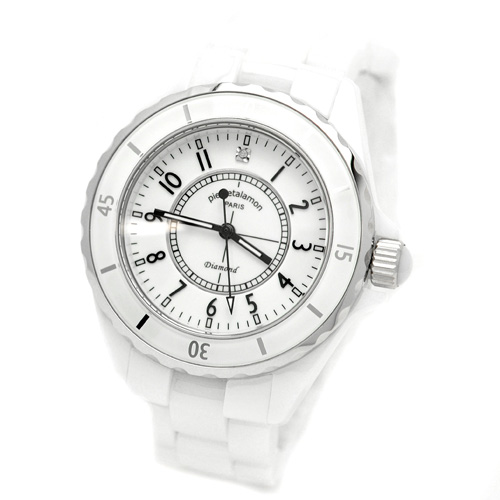 腕時計 メンズ ジュエリーコレクション セラミック ホワイト メンズウォッチ ピエールタラモン pierretalamon PT-1600H-WH