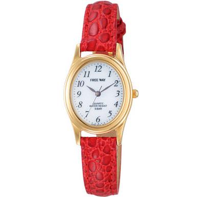 FREE WAY (フリーウェイ) 腕時計 ソーラーコレクション あかり発電 オーバル レディースウォッチ レッド AA95-9918